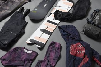 Burton outerwear, first layer, snowboards and a backpack