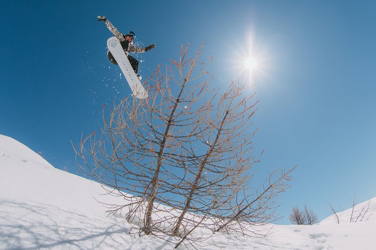 Mark McMorris airing over a tree on the Flight Attendant