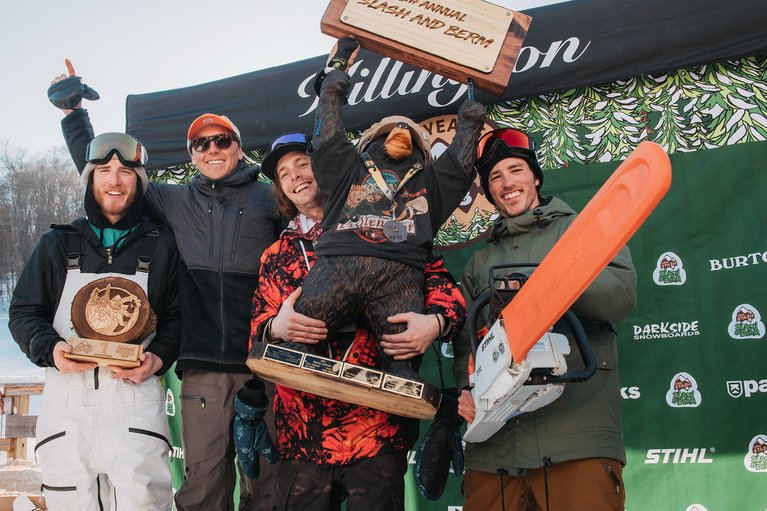 The gentlemen from Darkside Snowboard Shop took home the trophy in the industry team race, along with a new Stihl chainsaw.