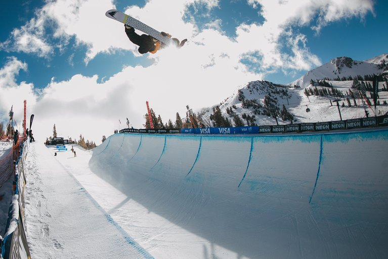 Danny Davis, switch method in the pipe at the Burton U.S.Open.