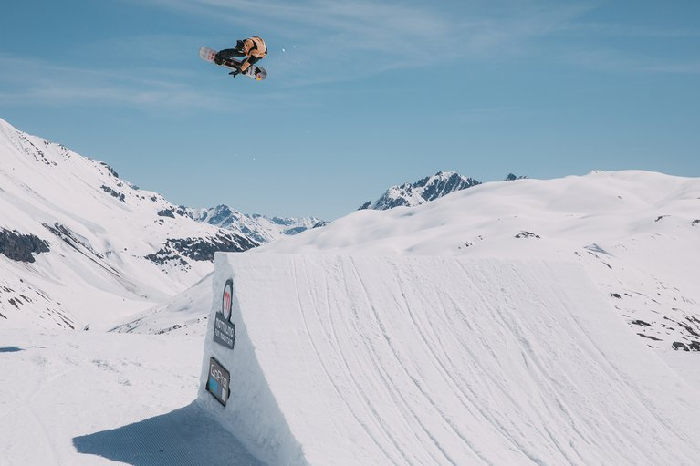 Mark McMorris sending a backside 180 on the Process snowboard.