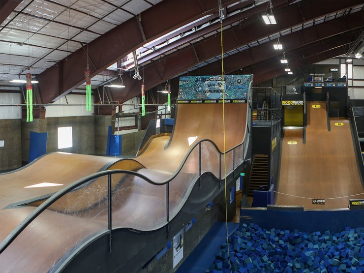 Most camps offer off-snow facilities, like The Barn at Woodward Copper, featuring skate tracks, foam pits...
