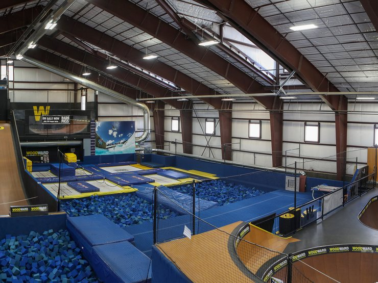 ...trampolines, gymnastics floors, mini ramps, bowls... It's a playground for all ages.
