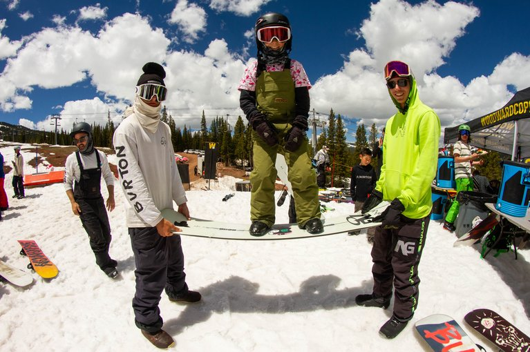 Campers hanging out with Pros at Woodward Copper.