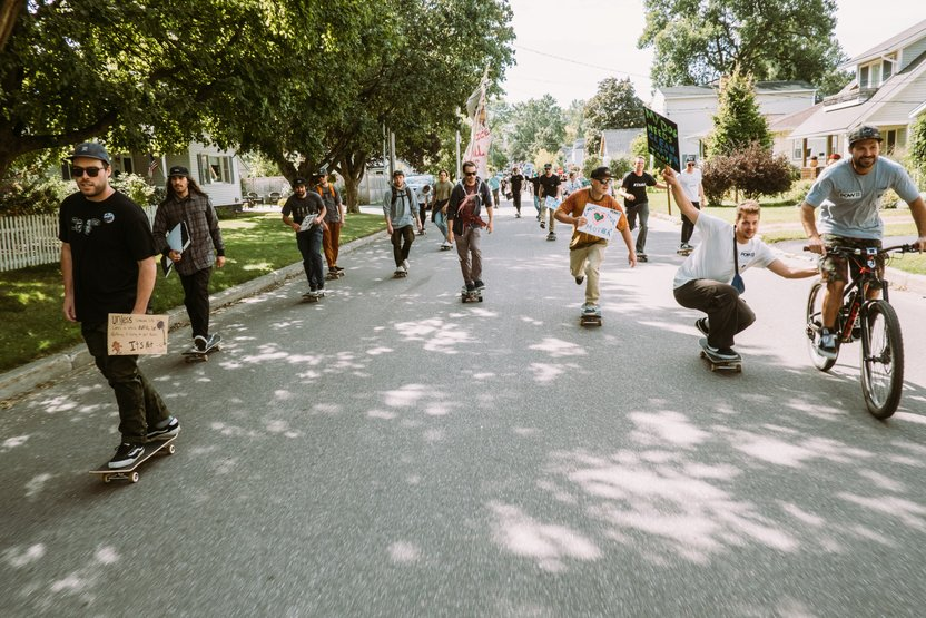 Skaters and cyclists led the way in Burlington, Vermont.