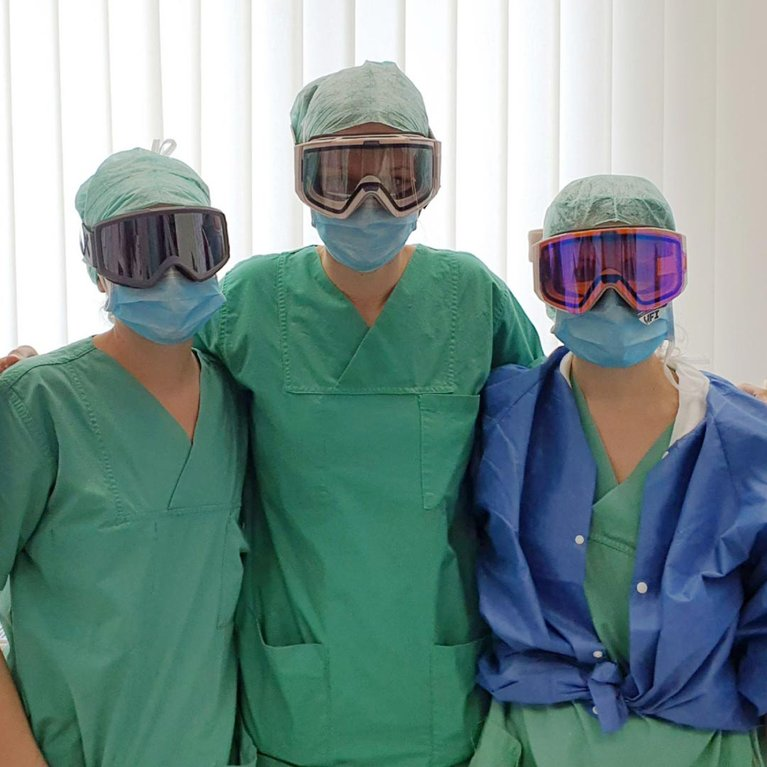 Nurses wearing Anon goggles supplied by Goggles For Docs